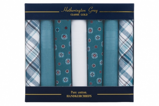 7 Pack Mixed Design Green and White Handkerchiefs
